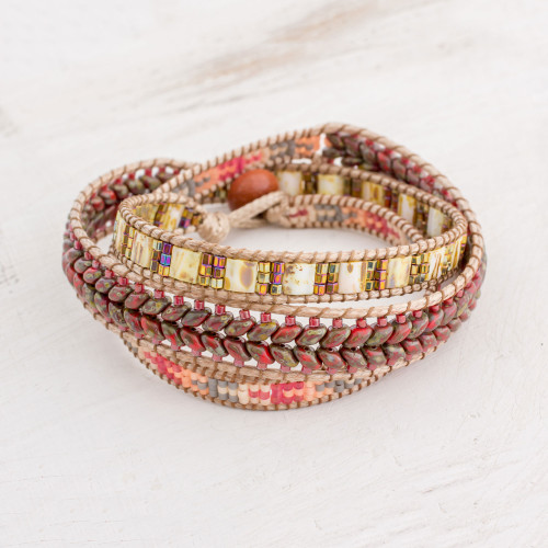 Handcrafted Glass Beaded Wrap Bracelet from Guatemala 'Country Land'