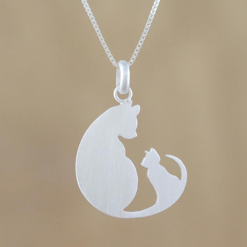 Sterling Silver Pendant Necklace of Two Cats from Thailand 'Feline Love'