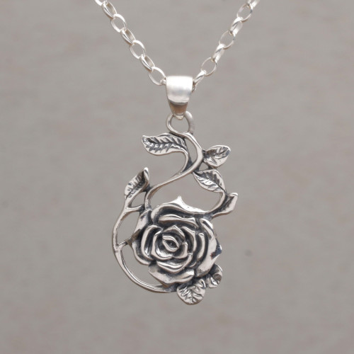 Sterling Silver Rose Pendant Necklace from Bali 'Thorny Rose'