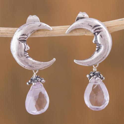Moon Goddess Sterling Silver Earrings with Amethysts 'Ixchel Goddess'