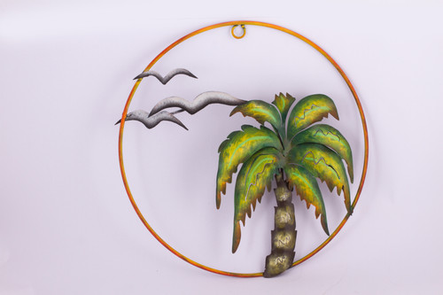 Handcrafted Tropical Iron Wall Sculpture from Mexico 'Evening at the Beach'