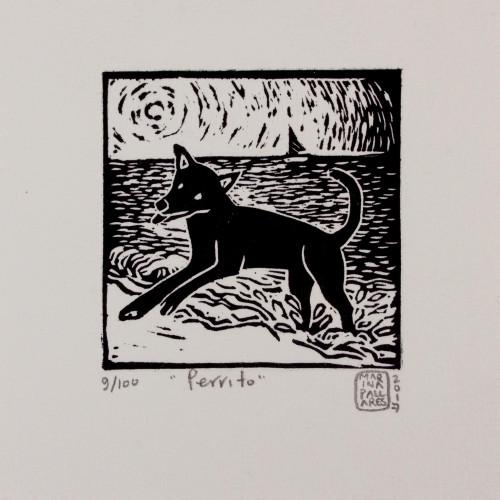 Mexico Fine Art Linoleum Print Dog Painting by NOVICA 'Little Dog'