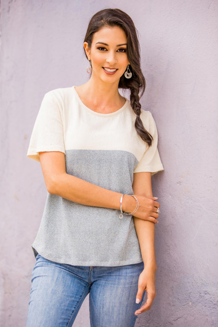 Natural Cotton and Recycled Denim Pullover Top for Women 'Cloud Whisper'