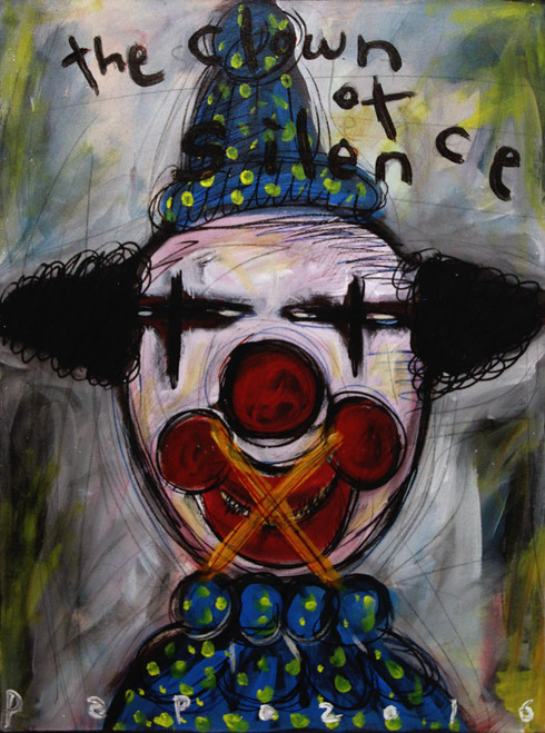 Expressionist Acrylic Painting of Silenced Clown 'The Clown of Silence'