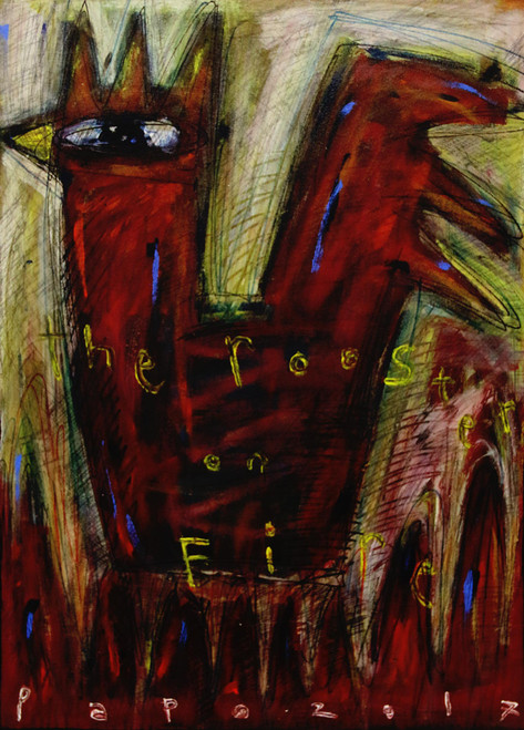 Chinese New Year Original Expressionist Rooster Painting 'The Rooster on Fire'