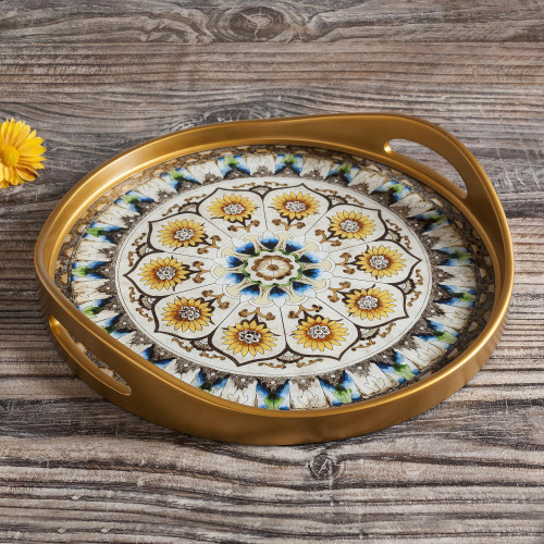 Andean Sunflower Theme Reverse-Painted Glass Tray 'Blue Andean Mandala'