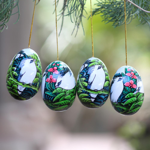 Hand-Painted Ornaments of Jalak Birds from Bali Set of 4 'Jalak Forest'