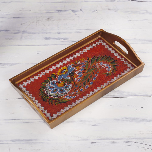 Red Floral Reverse-Painted Glass Tray from Peru 'Garden Arrangement'