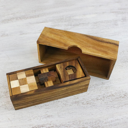 Set of Three Handcrafted Wood Puzzles from Thailand 'Three Puzzles'