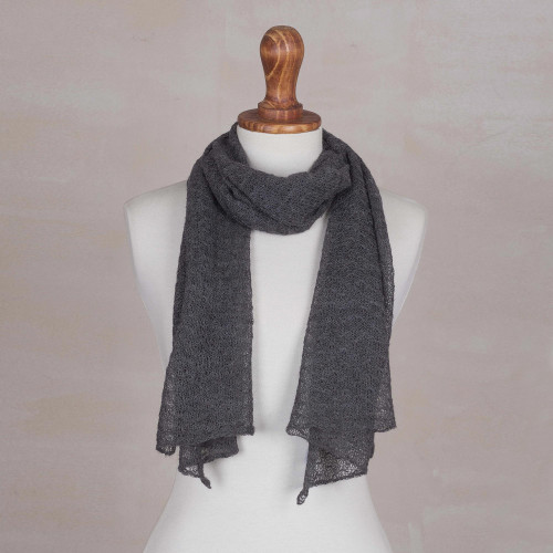 Textured 100 Baby Alpaca Wrap Scarf in Slate from Peru 'Wavy Texture in Slate'