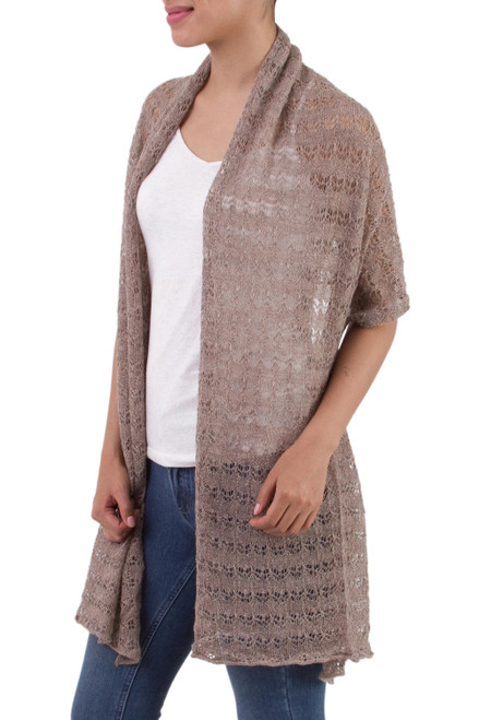 Textured 100 Baby Alpaca Shawl in Taupe from Peru 'Dreamy Texture in Taupe'