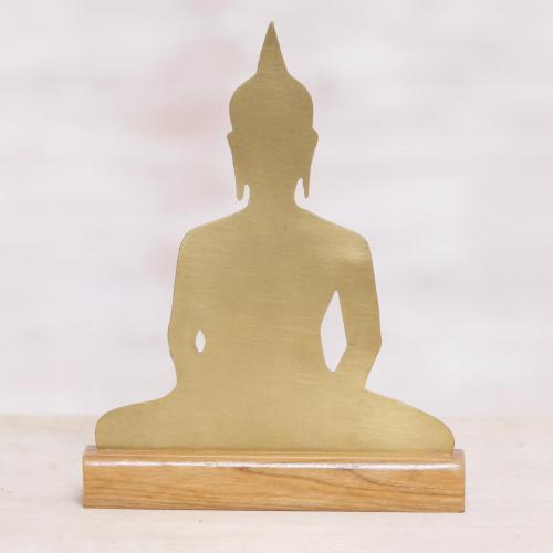 Brass Meditating Buddha Sculpture on Wood Base 'Sitting Buddha'