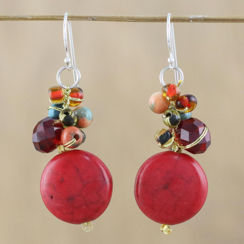 Red Calcite and Glass Bead Dangle Earrings from Thailand 'Red Circles'