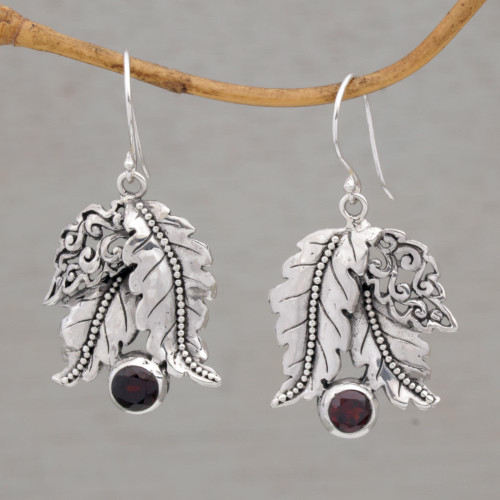 Leafy Garnet and Sterling Silver Dangle Earrings from Bali 'Ballroom Leaves'
