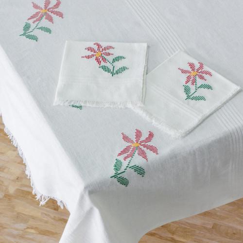 White Floral Cotton Table Linen Set from Guatemala 'Poinsettia Grace'