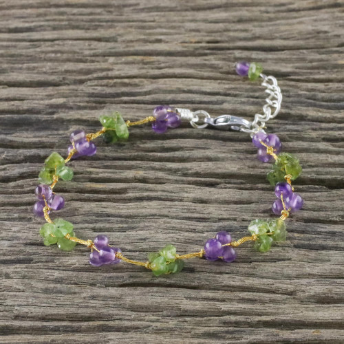 Beaded Amethyst and Peridot Bracelet from Thailand 'Chiang Mai Muse'