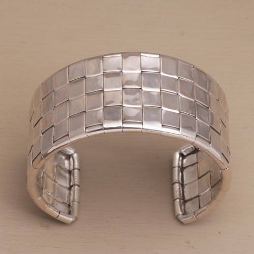 Handcrafted Sterling Silver Cuff Bracelet from Bali 'Woven Gleam'