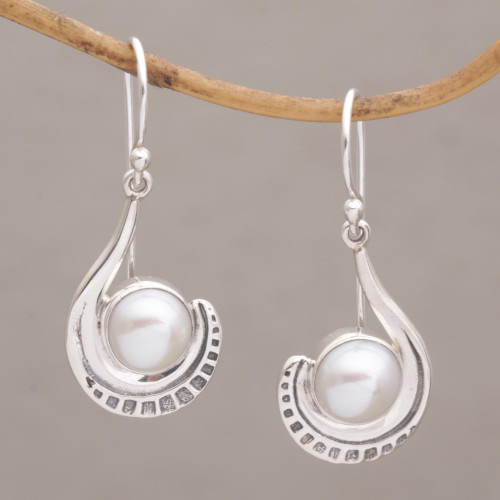 Sterling Silver and Cultured Pearl Dangle Earrings 'Marking Time'