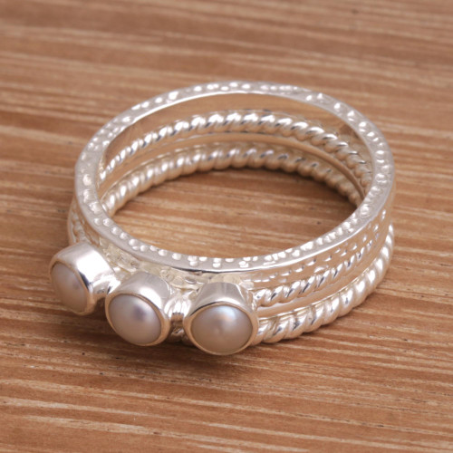 925 Sterling Silver Cultured Pearl Stacking Rings Set of 4 'United Moons'
