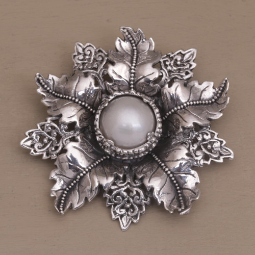 Artisan Crafted Floral Cultured Pearl Brooch from Bali 'Moonside Flower'