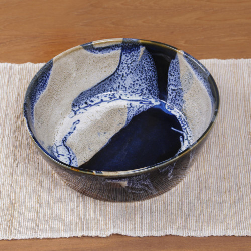 Decorative and Food Safe Ceramic Bowl from Bali 'Ocean Tides'
