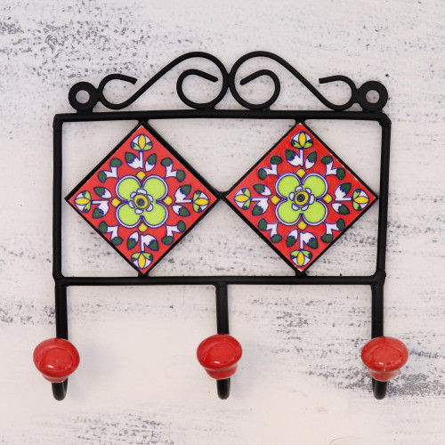Hand-Painted Floral Ceramic Coat Rack from India 'Red Garden'
