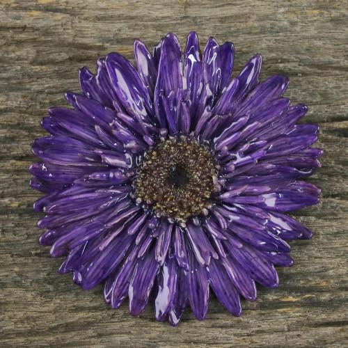 Handmade Natural Blue-Violet Gerbera Brooch from Thailand 'Splendid Petals in Violet'