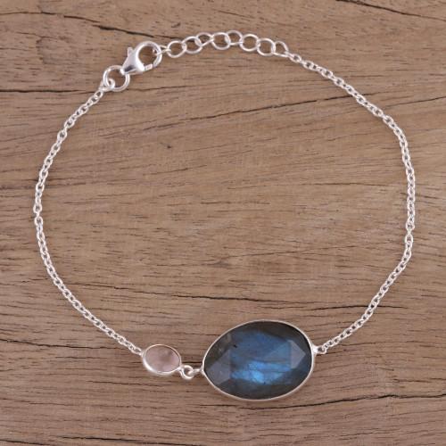 Sterling Silver Labradorite and Rose Quartz Pendant Bracelet 'Mist and Mystery'