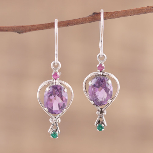 Amethyst Emerald and Ruby Dangle Earrings from India 'Sparkling Allure'
