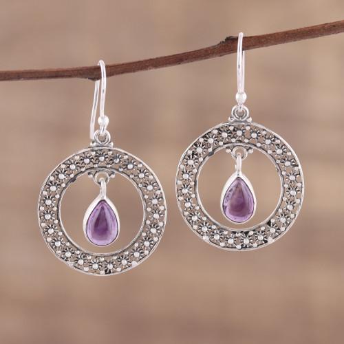 Amethyst and Sterling Silver Floral Motif Dangle Earrings 'Floral Loop in Purple'
