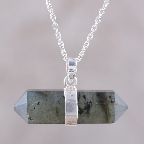 Pendant Necklace with Labradorite and Sterling Silver 'Crystal Energy'