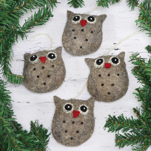 Set of Four Handcrafted Wool Owl Ornaments from India 'Midnight Quartet'