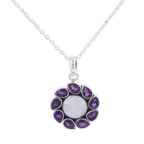 Amethyst and Rainbow Moonstone Pendant Necklace from India 'Floral Windmill'