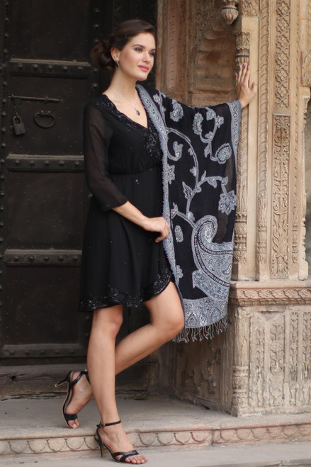 Artisan Handmade 100 Wool Reversible Floral Shawl India 'Alluring Lapis'