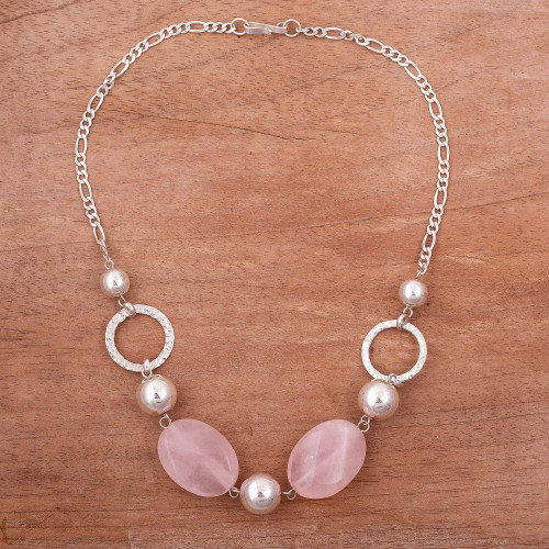 Rose Quartz and Sterling Silver Beaded Pendant Necklace 'Rose Lady'