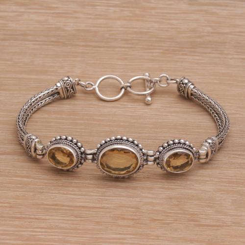 Eight Carat Citrine Pendant Bracelet Crafted in Bali 'Sunny Shrine'