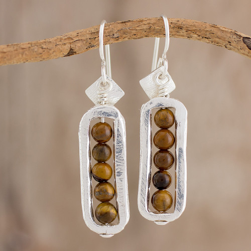 Fine Silver and Tiger's Eye Dangle Earrings from Guatemala 'Beauty Without End'