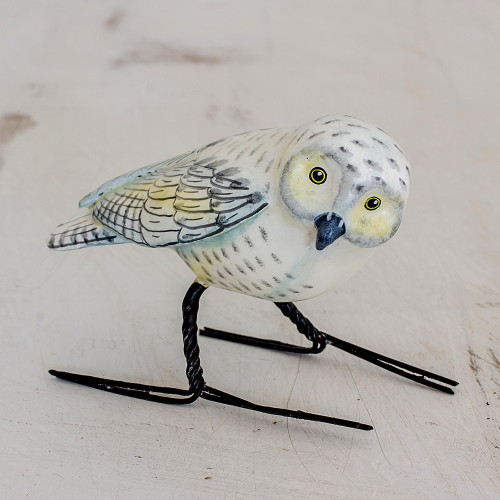 Hand Painted Snowy Owl Ceramic Bird Figurine from Guatemala 'Snowy Owl'
