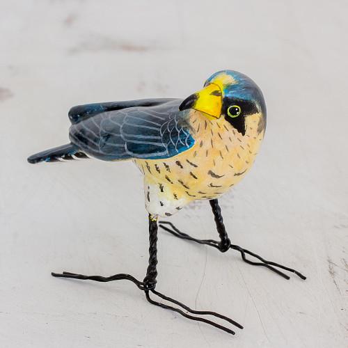 Guatemalan Handmade Peregrine Falcon Ceramic Bird Figurine 'Peregrine Falcon'