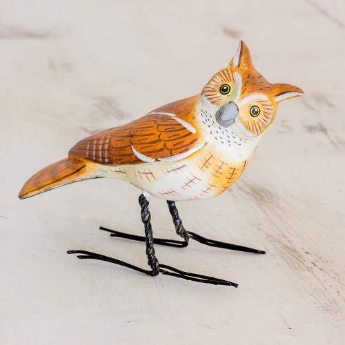 Hand Sculpted, Painted Ceramic Eastern Screech Owl Figurine 'Eastern Screech Owl'