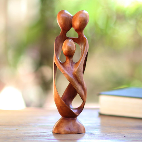 Hand Crafted Wood Family Statuette from Bali 'Family Spiral'