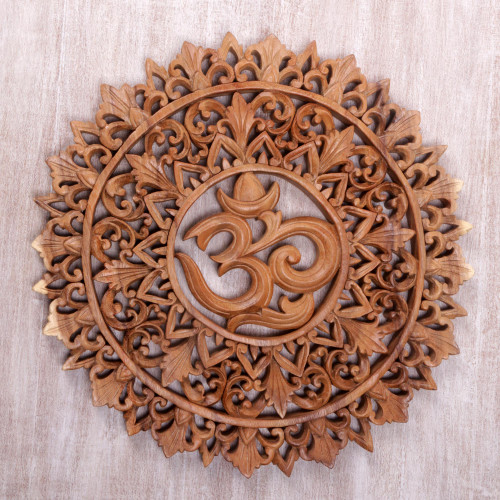 Om Symbol Carved Wood Wall Relief Panel from Bali 'Florid Om'