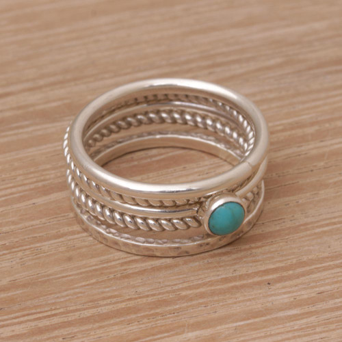 Handmade 925 Sterling Silver Turquoise Stacking Ring 'Alignment'