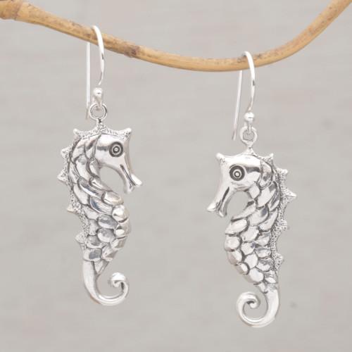 Seahorse Motif Dangle Earrings in Sterling Silver 'Friendly Seahorse'
