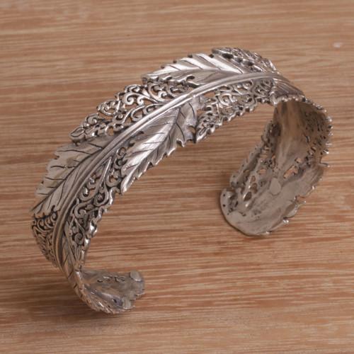 Leaf Motif Sterling Silver Cuff Bracelet from Bali 'Flawless Leaves'