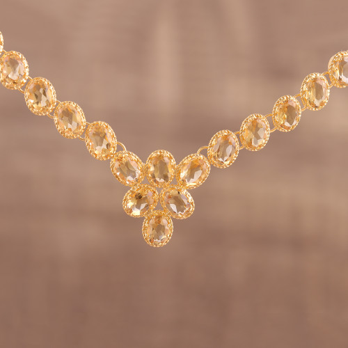 Gold Vermeil and Citrine Necklace Handcrafted in India 'Sunny Garland'