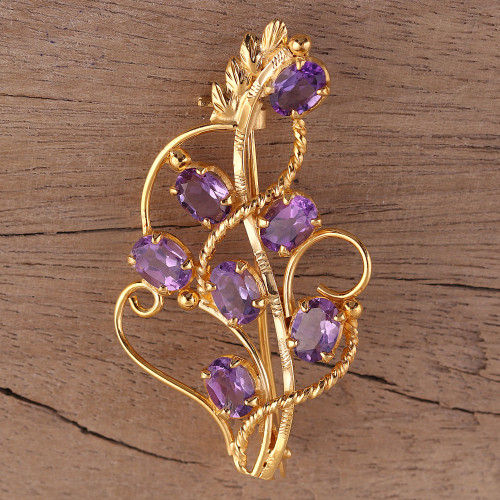 22k Gold Plated 7 Carat Amethyst Handcrafted Lilac Brooch 'Golden Lilac'
