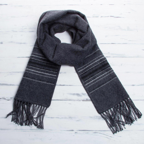 Fair Trade Woven Dark Gray Alpaca Blend Scarf for Men 'Andean Clouds in Charcoal'