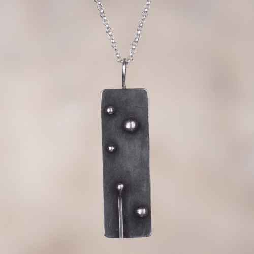 Rectangular Oxidized Sterling Silver Pendant Necklace 'Enduring'