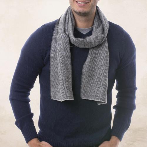 Handwoven Grey Herringbone 100 Alpaca Scarf for Men 'Grey Herringbone'